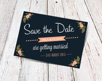 Save The Date Instant Download Wedding Roses & Chalkboard Modern Personalised