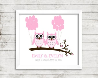 Fingerprint Tree Twin Owl Baby Shower Fingerprint Guestbook Balloons Baby Shower Personalized Thumbprint  Print Name Date Keepsake Sign