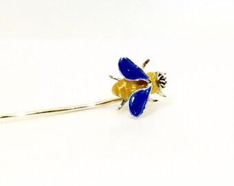 TIFFANY 14k Gold Enamel Honey Bee Stick Pin