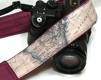 Camera Strap. World Map Camera Strap. Holiday Gift. Personalized Camera Strap. Padded Purple DSLR Camera Strap with Pocket. Accessories