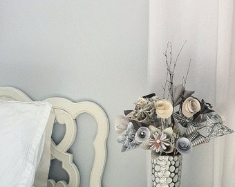 Unique, handmade paper flower bouquet in tall vase