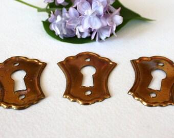Vintage set of 3 Brass Key Hole Plates, Door Accesoires, Keyhole Brass Escutcheon, Decorative Plate, Lock Furniture