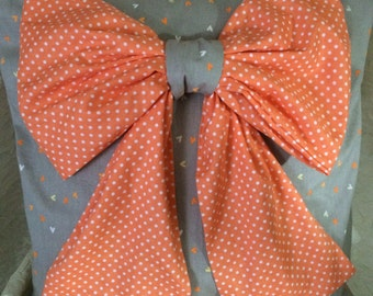 Pretty  Orange Bow Pillow Cover