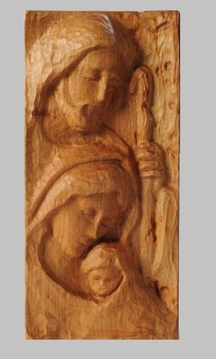 Religious wood carving handmade holy family wall hanging