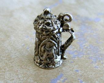 Small Beer Stein Mug Vintage Silver Bracelet Charm