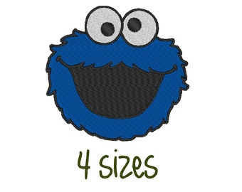 Cookie monster Stitch Embroidery design. 4 Sizes.