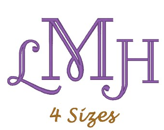 Monogram Font Embroidery design. (4 sizes)