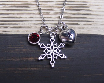 initial necklace, snowflake necklace, birthstone necklace, winter necklace, antique silver snowflake charm on silver plated chain, snowy