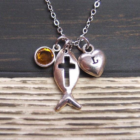 Initial necklace christian fish necklace birthstone by for Jesus fish necklace