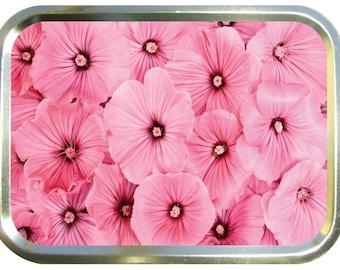 Pink pansy design 2oz gold tobacco tin,pill box,storage tin
