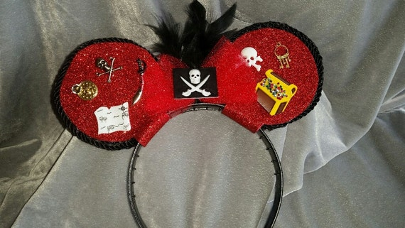 Pirate Mouse Ear Headband - Red and black with feathers