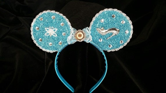 Blue & Silver CInderella shoe mouse ears headband