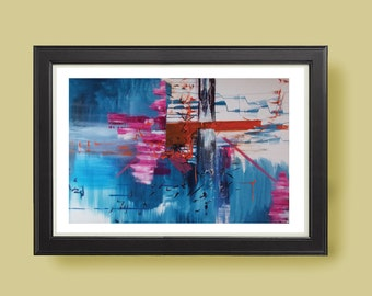 WHITE WATER Abstract modern art print from original mixed media