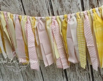 Yellow Pink White Fabric Strip Banner / Rag Tie Garland, Photography Banner, Bridal / Baby Shower / Wedding Banner, Fabric Decor