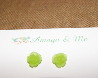 Resin Rose Flower Cabochon Earrings