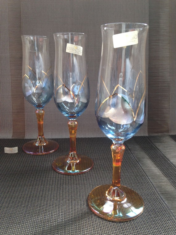 cristal 3a flute champagne glasses blue and gold with. Black Bedroom Furniture Sets. Home Design Ideas