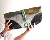 Tribal Leather and Canvas Clutch, Bohemian Cluch, Oversized Leather and Canvas Clutch, Hand Painted Leather Clutch Hand Bag, Unique Clutch