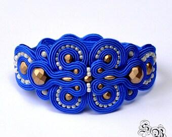 Soutache Bracelet Blue - Gold - Cream