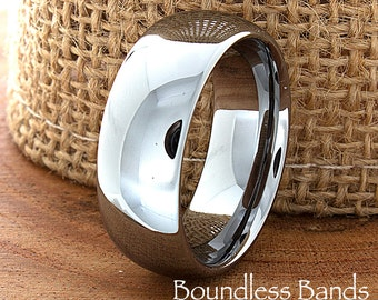 Tungsten Wedding Band Domed High Polished Customized Tungsten Ring Any Design Laser Engraved Ring Mens Tungsten Ring Anniversary Ring 8mm