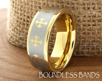Tungsten Gold Cross Wedding Ring Two Tone Mens Band Laser Engraved His Hers Mens Womens Couple Wedding Ring Engagement Ring Comfort Fit 8mm
