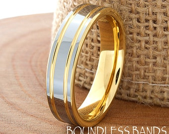 Tungsten Wedding Band Ring 6mm Men Women Wedding Band Custom Anniversary Promise Engagement Handmade Double Grooved Yellow Gold Perfect Gift