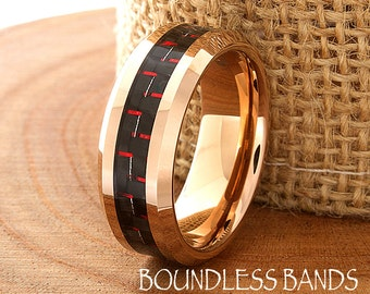 Rose Tungsten Ring 8mm Beveled Black Red Carbon Fiber Inlay Mens Wedding Anniversary Ring For Him Couple Promise Ring FREE Laser Engraving