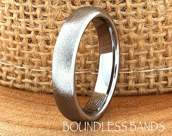 Tungsten Wedding Band Domed Brushed Polished Customized Tungsten Band New Design Laser Engraved Ring Mens Tungsten Ring Anniversary Band 4mm