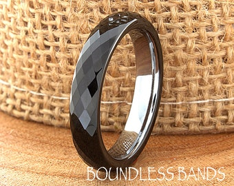 Tungsten Wedding Band Two Tone Black Enamel Faceted Diamond Cut High Polished 4mm His Hers Black Mens Women Custom Engraved Anniversary Ring