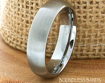 Tungsten Wedding Ring Dome Shaped Brushed Mens Wedding Band Custom Engraved Any Design Couple Wedding Band Mens Women's 6mm Modern New Band