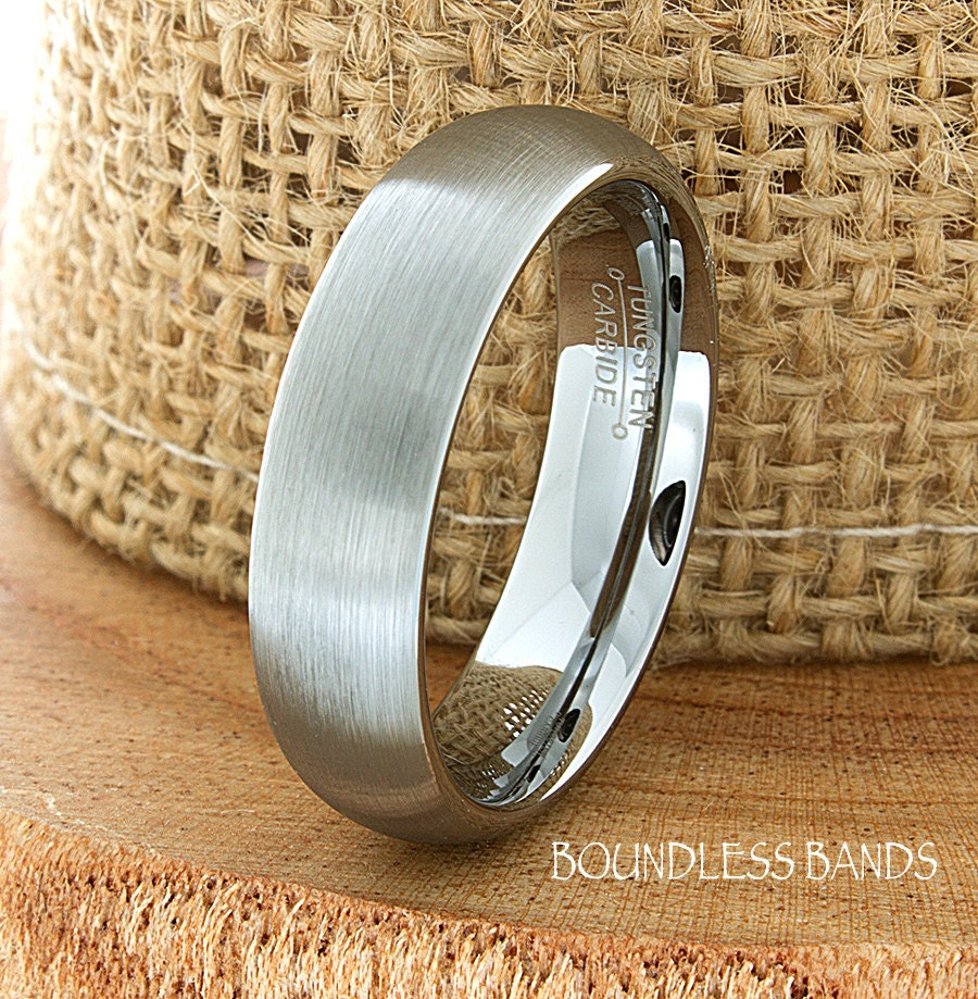 Tungsten Wedding Rings: Tungsten Wedding Ring Dome Shaped Brushed Mens Wedding Band