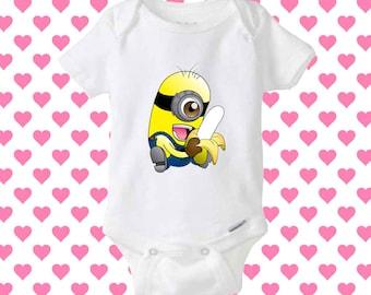 Minion Banana baby onesie, shirt baby onesie, baby onesie clothing