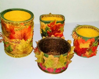 FALL Decorated Re-cycled Household Cans Holds or Displays Anything Right Side Up or Upside Down!