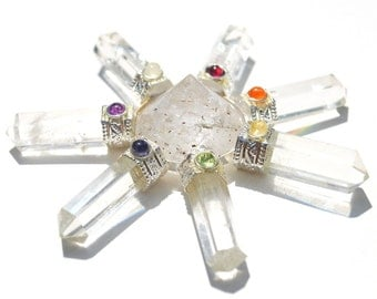 Clear Quartz Crystal Energy Generator with Seven Crystal Points and Chakra Gem Stones