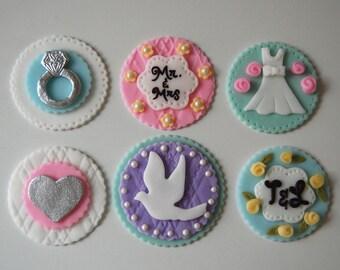Set of 12 Bridal Shower Fondant Cupcake Toppers