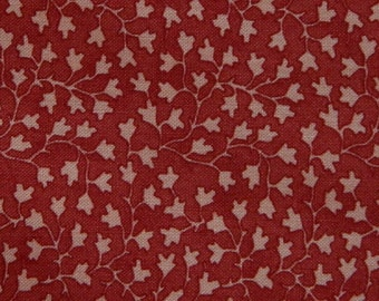 Moda Fabric ~ Farmer's Market by Brannock/Patek ~ Leaf Fabric ~ Red with Pink Leaves