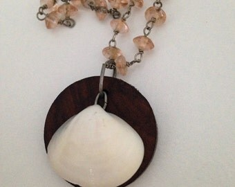 Shell and wood necklace, shell necklace, beach jewelry