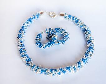 Infinity .Bead Crochet Necklace .Sky blue.Silver. Lustrous.Bizarre