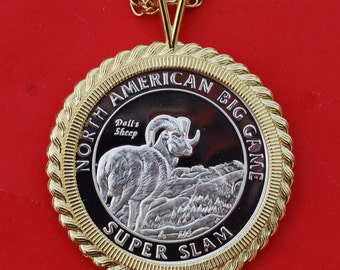 North American Big Game Super Slam Proof Coin Necklace - Dall Sheep