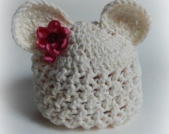 Baby Bear Beanie Crochet.Bear hat.Photo prop.Baby gift