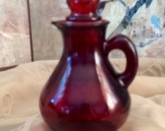 Vintage Avon Ruby Red Glass Cruet with Strawberry Stopper