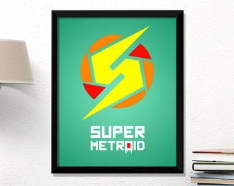 Metroid, video game poster, Metroid print, Nintendo poster, geek print, classic game, kids room art