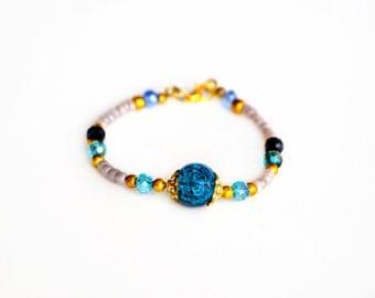 Beaded bracelet Friendship bracelet Blue beaded bracelet Bohemian jewelry Layering bracelet Stackable Seed bead bracelet Boho jewelry
