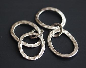 P0-839-MR] Oval Trio / 51mm Long / Matt Rhodium plated / Pendant / 2 pieces