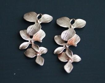 P0-046-MPG] Triple Orchid Flower / 15 x 33mm / Matt Pink Gold plated / Pendant / 2 pieces