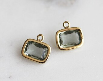A2-057-G-CC] Charcoal / 9 X 7mm / Gold plated / Rectangle Glass Pendant / 2 pieces