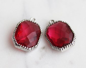 A2-011-R-RU] Ruby Red / Octagon / 14 x 20mm / Rhodium plated / Glass Pendant /  2 pieces