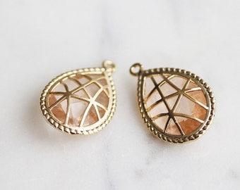 A2-012-G-PE] Peach / Teardrop / 13 x 21mm / Gold plated / Glass Pendant /  2 pieces