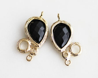 SALE//A2-029-G-ON] Onyx Black / 12 x 20mm / Gold plated / Pendant /  2 pieces