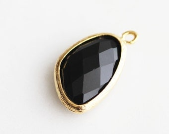 A2-080-G-ON] Onyx Black / 13 x 22mm / Gold plated / Pendant /  2 pieces