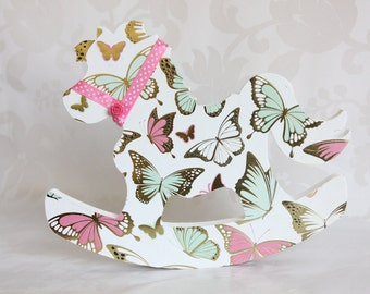 Golden Butterfly, Childrens Wooden Rocking Horse 8 Inch